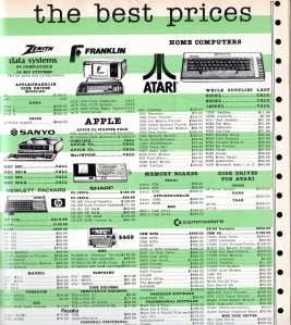 Computer peripherals ad from 1984 with green-bar theme