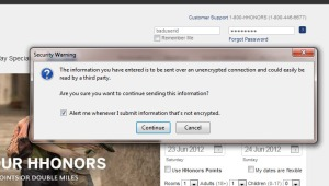 Screen shot of HHonors web site security problem