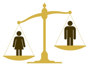Unbalanced scale with a man and woman